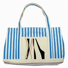 Red, White And Black Elegant Design Striped Blue Tote Bag by Valentinaart