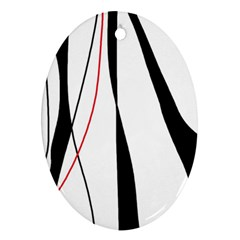 Red, White And Black Elegant Design Oval Ornament (two Sides) by Valentinaart