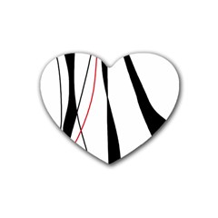 Red, White And Black Elegant Design Rubber Coaster (heart)  by Valentinaart