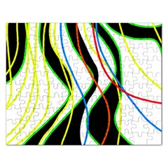 Colorful Lines   Abstract Art Rectangular Jigsaw Puzzl by Valentinaart