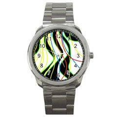 Colorful Lines   Abstract Art Sport Metal Watch by Valentinaart