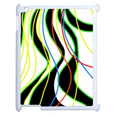 Colorful Lines   Abstract Art Apple Ipad 2 Case (white) by Valentinaart