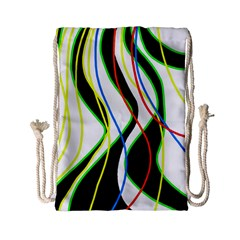 Colorful Lines   Abstract Art Drawstring Bag (small) by Valentinaart