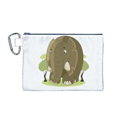 Elephant Animal Jungle Savannah Canvas Cosmetic Bag (M)