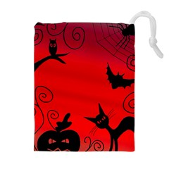 Halloween Landscape Drawstring Pouches (extra Large) by Valentinaart