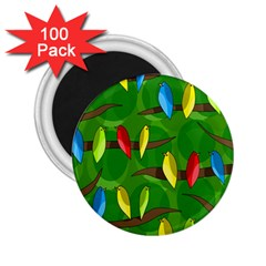 Parrots Flock 2 25  Magnets (100 Pack)  by Valentinaart