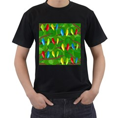 Parrots Flock Men s T Shirt (black) (two Sided) by Valentinaart