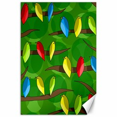 Parrots Flock Canvas 24  X 36  by Valentinaart
