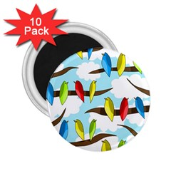 Parrots Flock 2 25  Magnets (10 Pack)  by Valentinaart