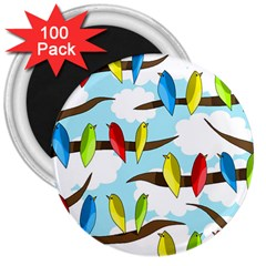 Parrots Flock 3  Magnets (100 Pack) by Valentinaart