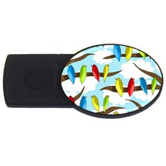 Parrots Flock Usb Flash Drive Oval (2 Gb)  by Valentinaart