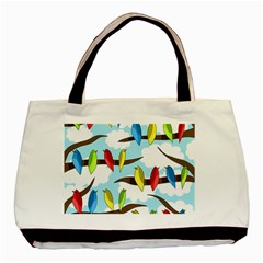 Parrots Flock Basic Tote Bag (two Sides) by Valentinaart