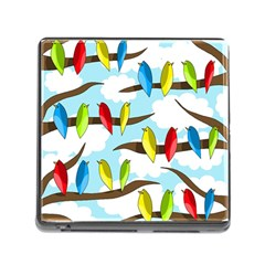 Parrots Flock Memory Card Reader (square) by Valentinaart
