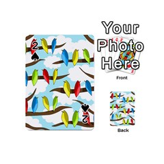 Parrots flock Playing Cards 54 (Mini)  by Valentinaart