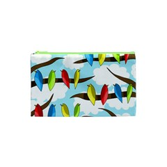 Parrots Flock Cosmetic Bag (xs) by Valentinaart