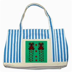 Dancing In Polka Dots Striped Blue Tote Bag by pepitasart