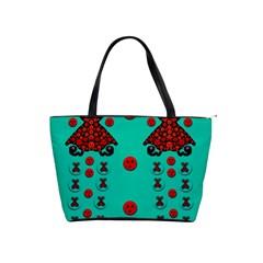 Dancing In Polka Dots Shoulder Handbags by pepitasart