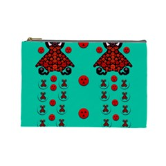 Dancing In Polka Dots Cosmetic Bag (large)  by pepitasart