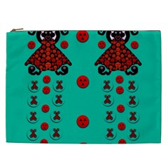 Dancing In Polka Dots Cosmetic Bag (xxl)  by pepitasart