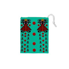 Dancing In Polka Dots Drawstring Pouches (xs)  by pepitasart