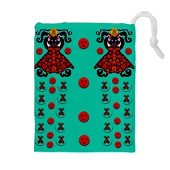Dancing In Polka Dots Drawstring Pouches (extra Large) by pepitasart