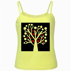 Simply Decorative Tree Yellow Spaghetti Tank by Valentinaart
