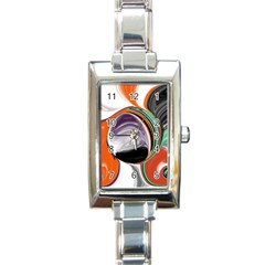 Abstract Orb In Orange, Purple, Green, And Black Rectangle Italian Charm Watch by theunrulyartist