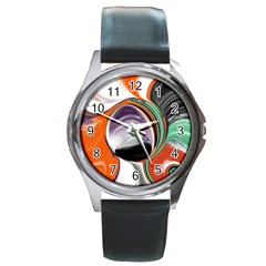 Abstract Orb In Orange, Purple, Green, And Black Round Metal Watch by theunrulyartist