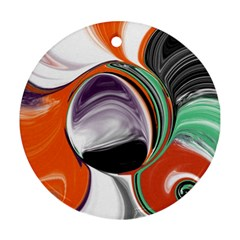 Abstract Orb In Orange, Purple, Green, And Black Ornament (round)  by digitaldivadesigns