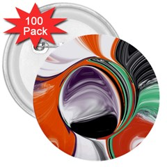 Abstract Orb In Orange, Purple, Green, And Black 3  Buttons (100 Pack)