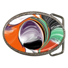 Abstract Orb In Orange, Purple, Green, And Black Belt Buckles by theunrulyartist