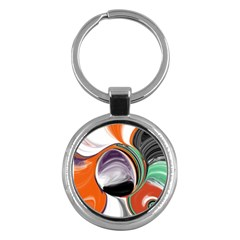 Abstract Orb In Orange, Purple, Green, And Black Key Chains (round)