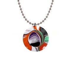 Abstract Orb In Orange, Purple, Green, And Black Button Necklaces by theunrulyartist