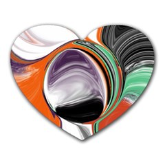 Abstract Orb In Orange, Purple, Green, And Black Heart Mousepads by theunrulyartist