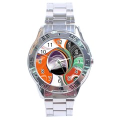 Abstract Orb In Orange, Purple, Green, And Black Stainless Steel Analogue Watch by digitaldivadesigns