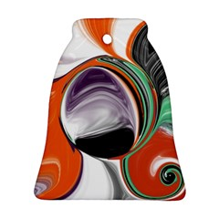 Abstract Orb In Orange, Purple, Green, And Black Bell Ornament (2 Sides)