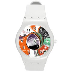 Abstract Orb In Orange, Purple, Green, And Black Round Plastic Sport Watch (m) by theunrulyartist