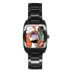 Abstract Orb In Orange, Purple, Green, And Black Stainless Steel Barrel Watch by digitaldivadesigns