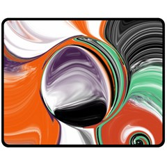 Abstract Orb In Orange, Purple, Green, And Black Double Sided Fleece Blanket (medium)  by theunrulyartist