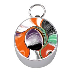 Abstract Orb In Orange, Purple, Green, And Black Mini Silver Compasses