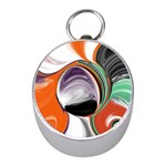 Abstract Orb in Orange, Purple, Green, and Black Mini Silver Compasses Front