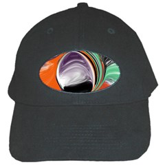 Abstract Orb In Orange, Purple, Green, And Black Black Cap by theunrulyartist