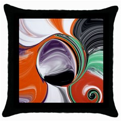 Abstract Orb In Orange, Purple, Green, And Black Throw Pillow Case (black) by theunrulyartist