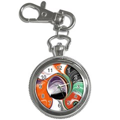 Abstract Orb In Orange, Purple, Green, And Black Key Chain Watches