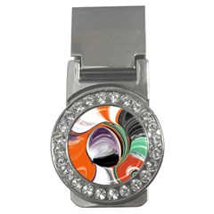 Abstract Orb In Orange, Purple, Green, And Black Money Clips (cz)  by digitaldivadesigns