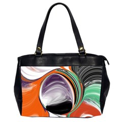 Abstract Orb In Orange, Purple, Green, And Black Office Handbags (2 Sides)  by theunrulyartist