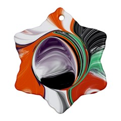 Abstract Orb In Orange, Purple, Green, And Black Snowflake Ornament (2 Side) by digitaldivadesigns