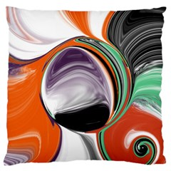 Abstract Orb In Orange, Purple, Green, And Black Large Cushion Case (two Sides) by theunrulyartist