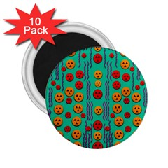 Pumkins Dancing In The Season Pop Art 2 25  Magnets (10 Pack)  by pepitasart