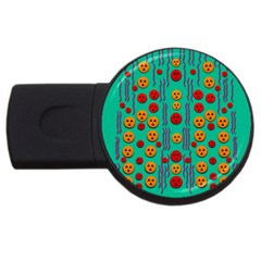 Pumkins Dancing In The Season Pop Art Usb Flash Drive Round (4 Gb)  by pepitasart